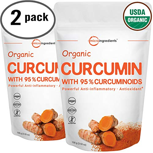 Maximum Strength Organic Pure Curcumin 95% (Natural Turmeric Extract) Powder, Powerful Anti-Inflammatory Antioxidant & Water Soluble Supplements for Joint Pain Relief, 100 Gram (2 Pack).Vegan Friendly