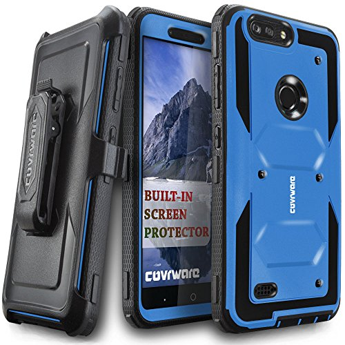 COVRWARE [Aegis Series] case Compatible with ZTE Blade Z Max (Z982) / Sequoia, with Built-in [Screen Protector] Heavy Duty Full-Body Rugged Holster Armor Case [Belt Swivel Clip][Kickstand], Blue