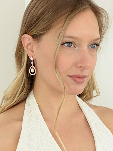 Mariell Blush 14K Rose Gold Plated Shell Pearl Drop Bridal Wedding Dangle Earrings with Cubic Zirconia by Mariell (Image #2)