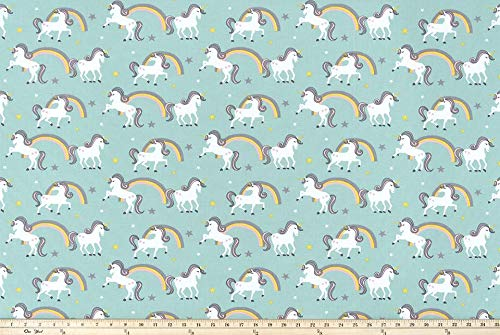 Premier Prints Unicorn Rainbow Aqua Curtain Valance Window Topper ()