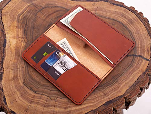 Brown leather checkbook wallet, with credit card slots, Italian veg tanned leather/Business Check cover with additional pockets, Handsewn