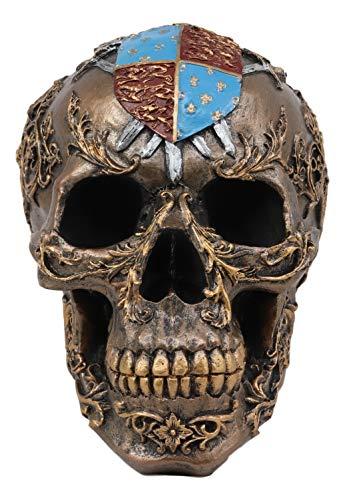 Ebros Knights of Templar Medieval Heraldry Shield Crest with Swords Skull Statue Crusader Knight Royal Floral Filigree Pattern Halloween Macabre Spooky Decor Skeleton Cranium Figurine Skulls Tombs]()