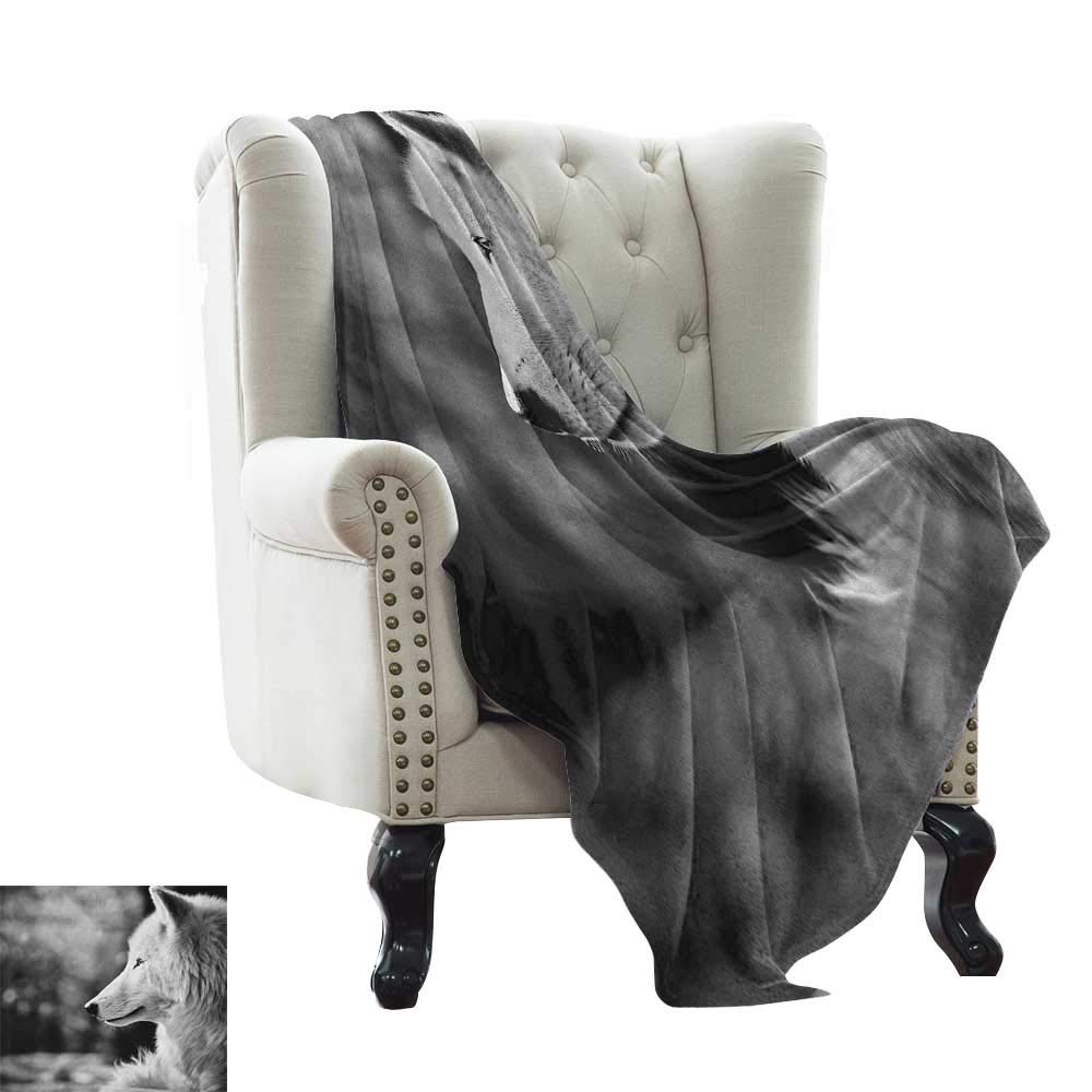 color08 60 x70  Inch BelleAckerman Queen Size Blanket Wolf,Fairy Tale Design with Little Girl colorful Scarf Big Scary Animal Sketch Style, Black Red White for Bed & Couch Sofa Easy Care 50 x60