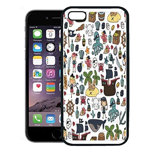 Semtomn Phone Case for iPhone 8 Plus case Cover,Children Playing Pirates Boys and Girls Kindergarten School Preschool Halloween Party Treasure Island,Rubber Border Protective Case,Black ()