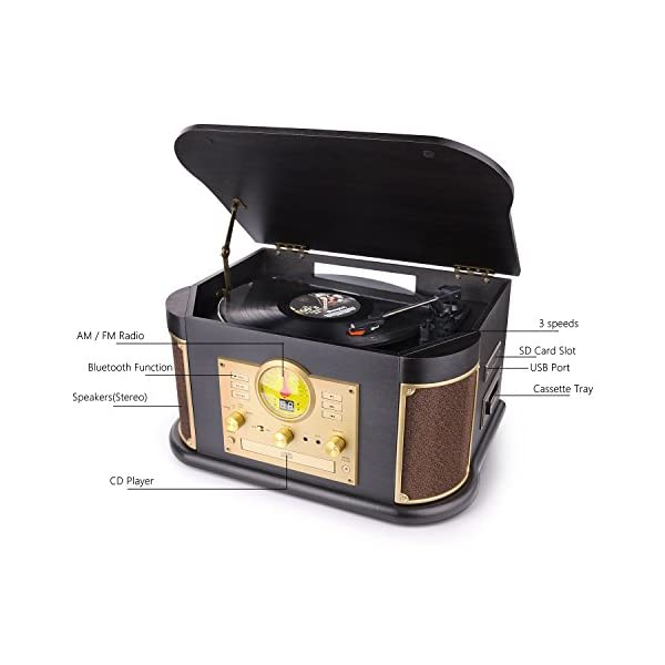 Bluetooth Record Player, dl Vintage Turntable 3-Speed Vinyl Record Player with 2x9W Speakers/CD/Cassette Tape/FM Radio… 5