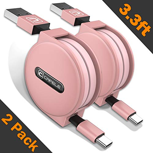 Retractable USB Type C Cable, CAFELE 2 Pack/3.3ft USB A to USB C Charger Fast Charging Cable Compatible for Samsung Galaxy S9 Note 8 S8 Plus,LG V30 V20, Google Pixel, Moto Z2, MacBook - Rose Gold