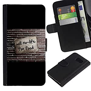 NEECELL GIFT forCITY // Billetera de cuero Caso Cubierta de protección Carcasa / Leather Wallet Case for Sony Xperia Z3 Compact // Will no es vida para la Alimentación divertido