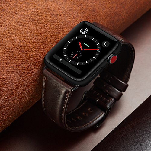 OUHENG Compatible for Apple Watch Band 42mm, Retro Genuine Leather iWatch Strap Replacement Compatible for Apple Watch Series 3 Series 2 Series 1 Sport Edition, Brownish Black Band with Black Adapter by OUHENG (Image #7)