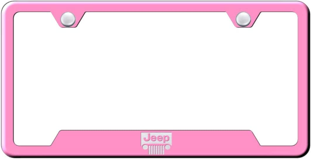Jeep Grill License Plate Frame Laser Etched Stainless Steel 4 Notch Pink Powder Coat