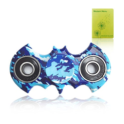 Fidget Spinner,Hand Spinner,Stress Reducer?High Speed Fidget Finger Toy - Perfect for ADD / ADHD / Anxiety / Autism And Stress Relief Adult Children,Office Desk Gadget(blue camouflage bat)