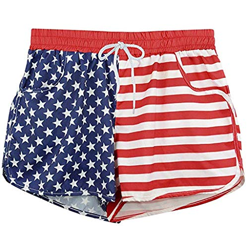 (TnaIolral Women Independence Day Shorts Summer Casual Bandwidth Pine Flag Pants (M, Red))