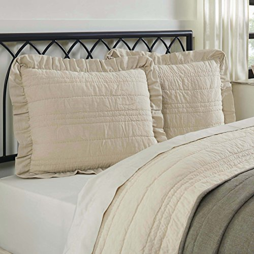 Piper Classics Ruffled Chambray Natural Standard Sham, 21x27 Quilted Beige Pillow Cover, Farmhouse Style