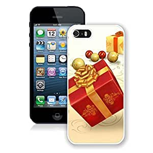 Iphone 5s Case,Red Golden Christmas Gift Box White Case For Iphone 5 5S Protective Case