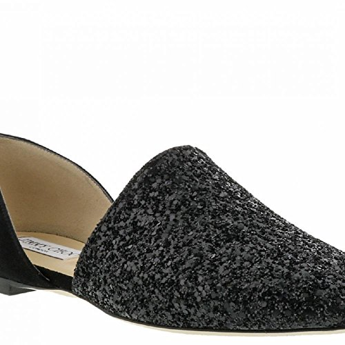 JIMMY CHOO Women's Black Glitter Ballerina - Moccasin Shoes - Size: 7.5 - Choo Black Jimmy