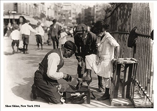 'Shoe Shine, New York' Vintage American Street Scene, 1916 - Stunning, Highly Detailed A4 Glossy Art Print Exclusive to The Andromeda Print Emporium!