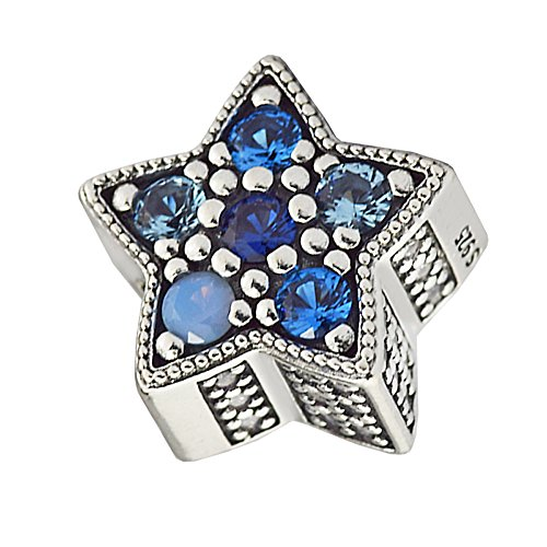 - FASHICON Christmas Bright Star Charm, Multi-Colored Crystals Beads 925 Sterling Silver DIY Fits for Original Bracelets Charm Fashion Jewelry