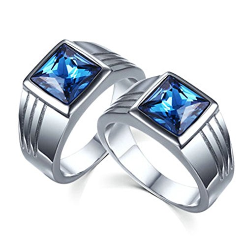 Bishilin Couples Rings Engagment 2 Pieces Stainless Steel Gay Rings with Blue CZ 10MM Silver 10 & 10 ()
