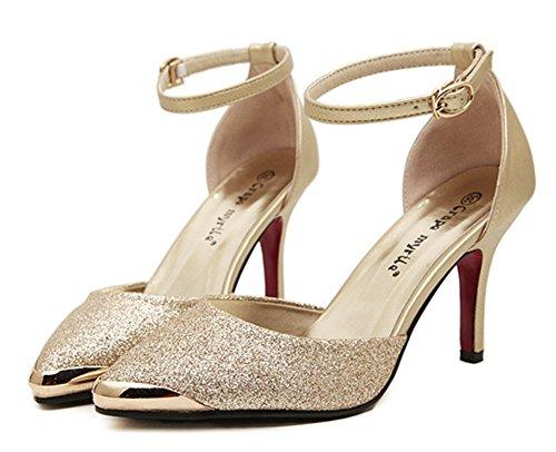 Chfso Womens Sexy Bout Pointu Couvert Talons Robe Talons Hauts Talons Boucle Sandales Chaussures Avec Des Sangles De Cheville Or