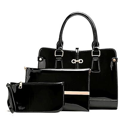 Yardar Women PU Leather Shoulder Bags Ladies Patent Crossbody Bag Black 32cm