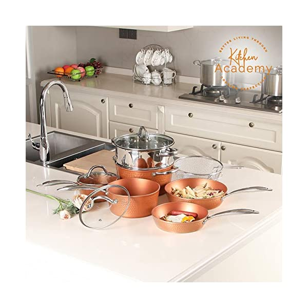 Kitchen Academy Hammered Kitchen Cookware Sets, Kitchen Pots and Pans Set 2