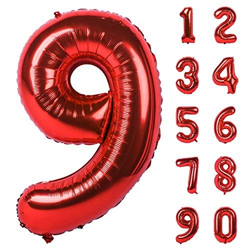 Changzhong 40 Inch Red Large Numbers 0-9 Birthday Party Decorations Helium Foil Mylar Big Number Balloon Digital 9