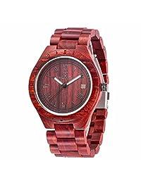 Morrivoe Mens Natural Wood Watches 47.5mm Case Analog Display Japan Quartz wristwatches Gift (Red)