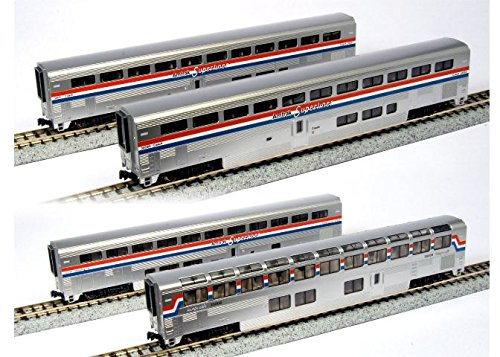 (Kato USA Model Train Products Amtrak Superliner Phase III Car Set B, 4-Piece)