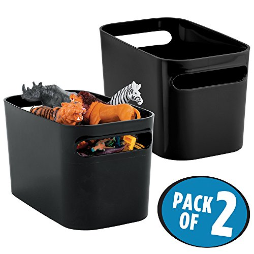 mDesign Kids/Baby Toy Storage Bin for Dolls, Modeling Clay, Blocks, Cars - Pack of 2, Black