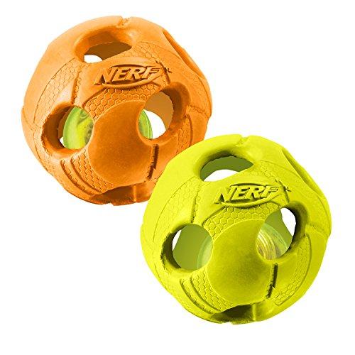 Nerf Dog Medium LED Bash Ball Light-Up Green & Orange Dog Toy...