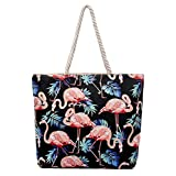 Fashion Flamingo Printed Canvas Shopping Bags Animal Design Beach Bag For Women Tote Bags Casual Handbags Gifts
