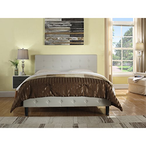 Rosevera Home Antonia Faux Leather Upholstered Platform Bed with Wooden slats, Queen