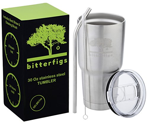 Bitterfigs Stainless Steel Tumbler Vacuum Insulated Cup 30 oz, Set of Splash Resistant Sliding Lid, Straw and Brush, Best Double Wall Travel Coffee Mug