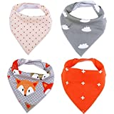 Unisex Baby Bandana Drool Bibs with Snaps-2 Sided Design,Soothie Holder,4-Pack Extra Absorbent for Girls and Boys