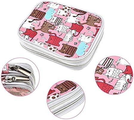 Estuche de ganchillo, bolsa organizadora con cremallera con bolsillos para diferentes agujas de ganchillo y accesorios de tejer, bien hecha, pequeño volumen y fácil de llevar, color rosa (no incluye accesorios): Amazon.es: