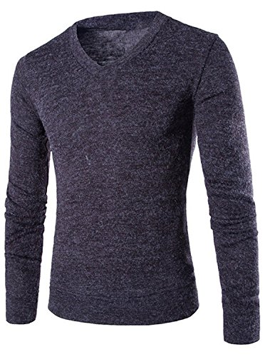 Bikifree Autumn Sweater V-Neck Striped Slim Fit Knitting Mens Sweaters And Pullovers Men Pullover Male T40 Dark (Highland Knitting Yarn)