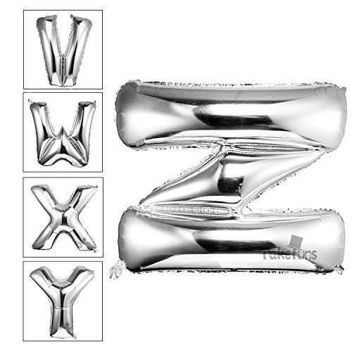 Takefuns 40 Inch Silver Alphabet I Balloon Birthday Party Halloween Christmas Decorations Helium Foil Mylar Letter Balloon(Silver,Z)