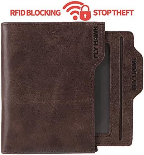 Italian Mens RFID Blocking Genuine Leather Wallet for Mens Detachable window Bifold Mens Wallets