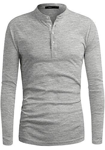 DANDYCLO Men's Henley Neck Sporty Design Long Sleeve Premium T-Shirt GREY (Design Khaki T-shirt Tee)