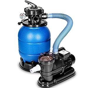 tillvex Depuradora Azul de Agua para Piscina 10 m³/h – 5 Funciones de Filtrado – Bomba de Filtro de Arena con Válvula