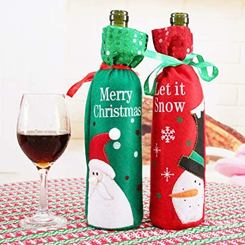 Lot de 6 Bouteille de Noël Sac Cadeau Vin Champagne Noël Santa présent Sack avec tag