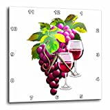 wine and grape kitchen clock - 3dRose Dream Essence Designs-Food and Drink - Luscious wine grapes with a pair of filled wine glasses - 13x13 Wall Clock (dpp_262340_2)