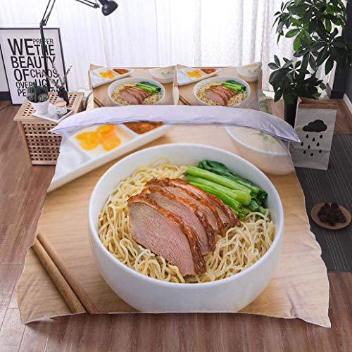 VROSELV-HOME 3 Piece Quilt Coverlet Bedspread,Roasted Duck with Noodles in Bowl and Soup,Soft,Breathable,Hypoallergenic,All Season Lightweight Colorblock Kids Bedding Set