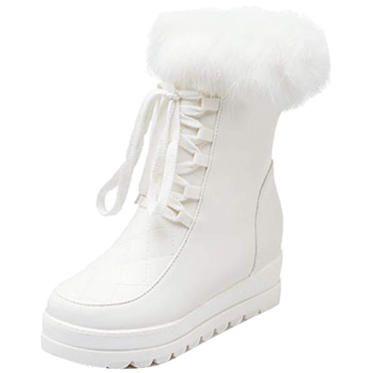Eeayyygch Damen Schnürschuhe mit Rundum-Zehe-Flatform-Zip-Pelz (Farbe     Weiß, Größe   7 UK) c29b4c