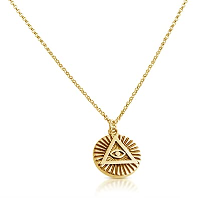 Illuminati all seeing eye of providence circle pendant necklace illuminati all seeing eye of providence circle pendant necklace 14k gold plating over 925 sterling silver mozeypictures Gallery