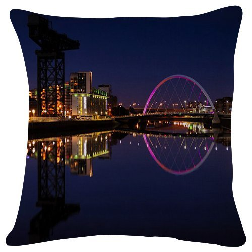 HATS-1 Fashion Decorative Throw Pillowcase Glasgow Lights Reflected in The Water World Plush 18x18 inches Soft Cushion Pillows Cover CasesHome,Car Seat,Office,Bedding Decorate