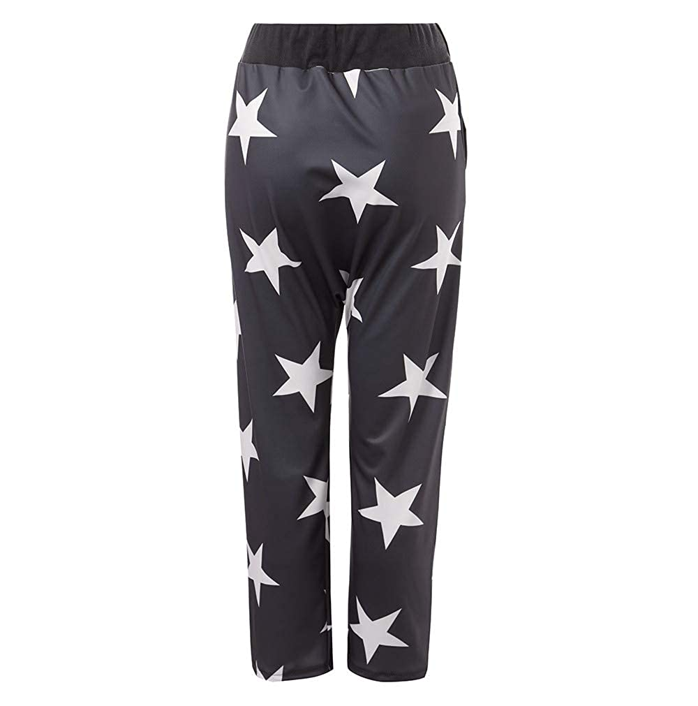 Womens Lounge Pant Button Mid Waist Loose Baggy Harem Sport Trousers Star Print Pants
