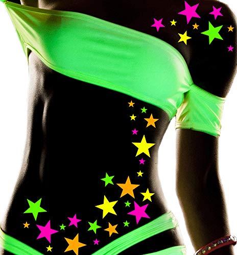 Sasswear Blacklight Star Body Stickers, Neon, 40/pk