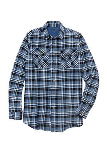KingSize Men's Big & Tall Plaid Flannel Shirt, Ink Blue Plaid - Big Flannel Shirt Plaid