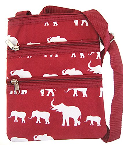 Elephant Print Cross Body Purse Messenger Bag Burgundy Alabama Roll Tide Bama