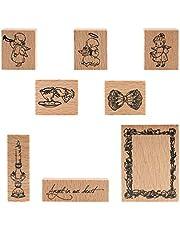 Wooden Rubber Stamps, NOGAMOGA 8pcs Rubber Stamp
